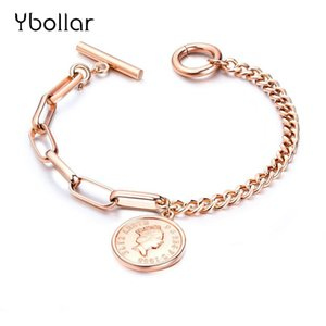 Wholesale New Trendy Heart Round Coin Pendant Stainless Steel Bracelet Bangles For Women Girls Chain Ladies Rose Gold Jewelry