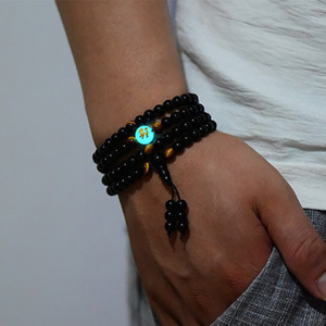 Wholesale BOEYCJR Dragon Black Buddha Beads Bangles Bracelets Handmade Jewelry Ethnic Glowing in the Dark Bracelet for Women or Men
