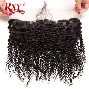 Wholesale 150 Density x13 Lace Frontal Closure Afro Kinky Curly Kinky Straight Brazilian Virgin Human Hair Lace Frontal Closure With Baby Hair