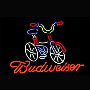 Wholesale Bicycle Fat Tire Budweiser Neon Light Sign Light Beer Bar Pub Restraunt Wall Decor Real Glass Tube quot x quot