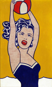Wholesale painting ball resale online - Roy Lichtenstein Oil Painting On Canvas Pop Art Girl with Ball Wall Art Home Decor Handpainted HD Print