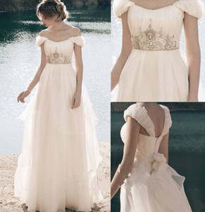 Wholesale Charming 2019 Bohemian Sliver Embellish Wedding Dresses Bridal Gown Off the shoulder with Cap Short Sleeve Backless Boho Wedding Dress