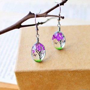 Wholesale Fashion Creative Plant Dry Dried Real Flower Earring Woman Jewelry Fashion Drop Earring Glass Ball Pressed Flower Dangle Earring