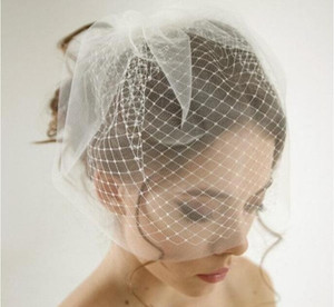 Wholesale Double Layer Birdcage Wedding Veil Bridal Accessories White Ivory Mesh Short Wedding Birdcage Veils Face Covers