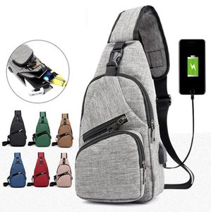 Wholesale Men USB Chest Bags Sling bag Large Capacity Handbag Crossbody Messenger Bags Shoulder Bag Moblie Phone Charger MMA1690