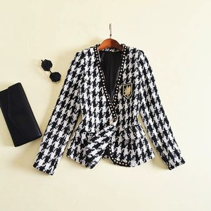 Wholesale New Fashion Runway Designer Jacket Women s Long Sleeve Badge Embroidery Rivet Houndstooth Tweed Jacket Outer Coat