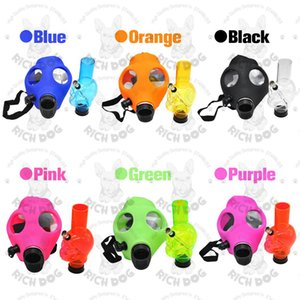 Wholesale Silicone Mash Creative Acrylic Silicone Smoking Pipe Gas Mask Acrylic Bongs Pipes Plastic Oil Burner Pipe Water Bongs Smoke Hand Pipes