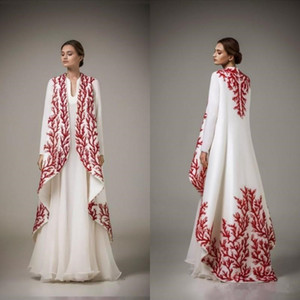 2019 Arabic Dubai Kaftans Evening Dresses Muslim White Chiffon Red Embroidery Long Sleeve Floor Length Gowns Evening Wear Custom Made on Sale