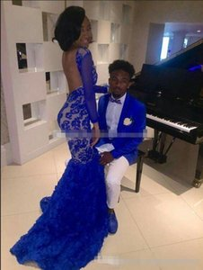 Wholesale 2019 Royal Blue Lace Prom Evening Dresses For Black Girl Mermaid Bateau Illusion Long Sleeves Vestidos de Fiesta Formal Evening Gowns Arabic