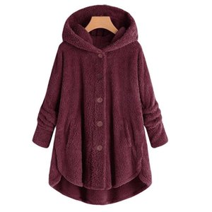 Female Jacket Plush Coat Fashion Warm Women Button Coat Fluffy Tail Tops Women's Hooded Jackets Pullover Loose Sweater#J30