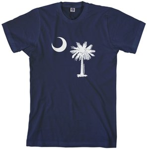Wholesale Threadrock Mens South Carolina Flag Design T shirt Palmetto Crescent State white black grey red trousers tshirt