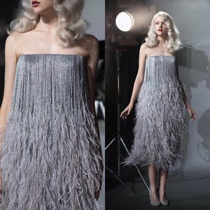Wholesale Elegant Fur Strapless Evening Dresses Shiny Feather Tea Length Prom Dresses Custom Made Summer Party Gowns