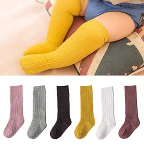 Wholesale Cotton Baby Socks Solid Color Baby Girl Socks Newborn Infant Toddler Knee High Boy Baby Sock