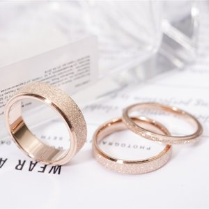 Wholesale High quality Fashion Simple Scrub Stainless Steel Women s Rings mm Width Rose Gold Color Finger Gift For Girl Jewelry
