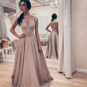 Wholesale Satin Jewel Sleeveless Appliques Prom Dresses Vestidos De Festa In Stock Hot Sales High-end Occasion Dress