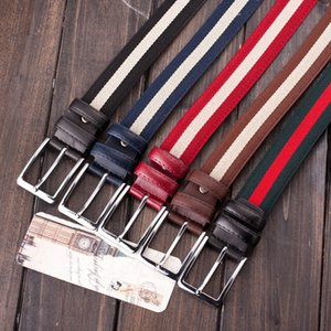Wholesale Student Retro Belt Pin Buckle Strap Men Brand Leather Girdle Canvas New Product Double Loop Red Black Hot Sales nb C1