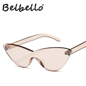 Belbello Rimless Cat Eyes Sunglasses Women Fashion Flying Sunglasses Mens Vintage Acrylic Trend Western Retro UV400