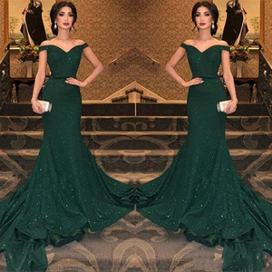 Wholesale 2019 Newest Arabic Dark Green Sequined Mermaid Evening Dresses Off The Shoulder Ruched Floor Length Evening Prom Gowns Party Dress BC0792