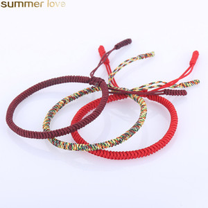 Wholesale Handmade Red Rope Tibetan Bracelets Tibetan Buddhist Love Lucky Charm Knots Woven Bracelets Bangles For Women Men Jewelry Accessories