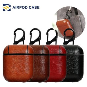 Wholesale For Airpods Cases Protective Cover PU Leather Hook Clasp Keychain Anti Lost Fashion headphoens Apple airpod Earphone Case Protector