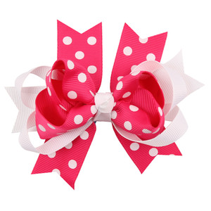 Wholesale Girls Hair Bows Christmas Bows Santa Snowing bows Baby girls Hair Wear Cheer leather Hair Accessories Poka Dot Barrettes Xmas Stcokcing Gift