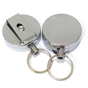 Wholesale High rebound telescopic wire rope key ring Anti lost anti theft Metal Retractable Pull Key Ring Badge Holder Key Chain Belt Clip ZZA325