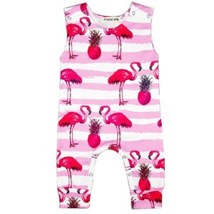 Kids Jumpsuit Girl Baby Clothes Printing Stripe Pajamas Flamingo Big Radish Sleeveless Onesies Comfortable Loose Simple Rompers 28