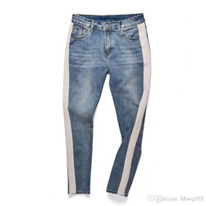 Crazy2019 Style Men Jeans Side Stripes Patchwork Jean Pants Slim-Fit Washed Denim Jogger Pants Justin Bieber Hip Hop Streetwear YCH0508 on Sale