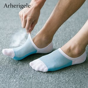 Wholesale Arherigele Summer Men Slippers Bamboo Fibre Non slip Silicone Invisible Boat Male Low Cut Ankle Socks Masculino C19042101