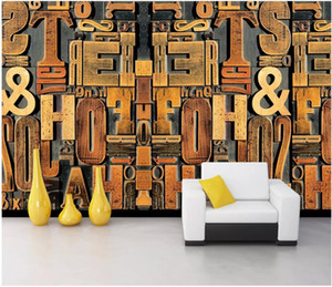 Wholesale wood wallpapers for sale - Group buy custom photo d wallpaper Wood carving woodcut english alphabet combination living room home decor d wall murals wallpaper for walls d