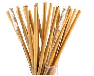 Wholesale bamboo straws resale online - 15 CM Bamboo Straws Bamboo Drinking Straw Reusable Eco Friendly Handcrafted Natural Drinking Straws and Cleaning Brush DHL