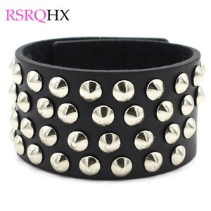 Wholesale Punk Rivet Leather Bangles Wrap Bracelet Men Boys Big Statement Exaggerated Hip Hop Jewelry Snap Botton Jewelry Boyfriend Gifts