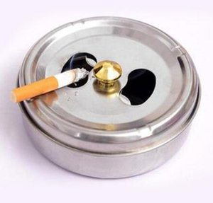 Wholesale 10cm Stainless Steel Ashtray With Lid Rotation Closed Off Smoke Function Ashtrays Soot Barrel DHL