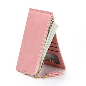 Wholesale 2019 new Monedero Women fashion Leather Small Wallet Women Leather Multi Function Wrist Zippy Coin Purse Key Clip Rings Wallet