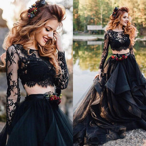 Wholesale Black Wedding Dress Long Sleeve Sexy Bridal Dresses Gothic Two Pieces Vintage Tiered Lace Top Punk Bohemian Bride Party Gown