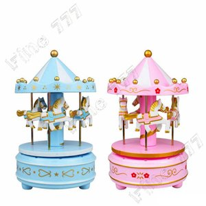 Wholesale Merry go round music boxes Geometric Music baby room decoration Gifts Unisex Wooden Christmas Horse Carousel Box home decor
