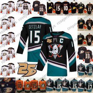 Custom Anaheim Ducks 25TH Any Number Name #4 Cam Fowler 14 Adam Henrique 33 Jakob Silfverberg 36 John Gibson Lindholm Black White Jersey