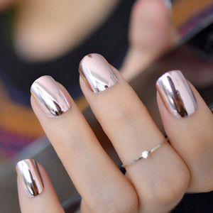 ingrosso chiodi quadrati acrilici-2019 Specchio Light Soft Pink Placcatura in metallo False French Acrylic Nail Tips Chiodi finti quadrati metallici senza colla per unghie