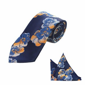 Wholesale JEMYGINS New Floral Striped cm Silk Wedding Jacquard Woven Men Tie Paisley Necktie Pocket Square Handkerchief Set Navy Blue Tie