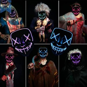 Wholesale LED Masks For Men Adults Kids Halloween Masks Light Up Party Funny Mask Festival Cosplay Costumes Supplies Glow In Dark