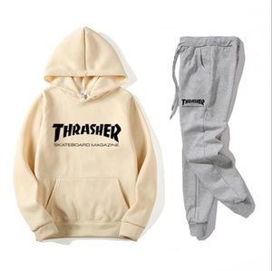 Fashion Tracksuit Spring Autumn Casual Brand Sportswear Men Track Suits High Quality THRASHER Hoodies #2217 on Sale