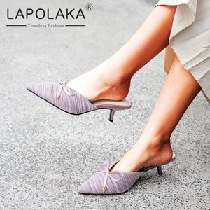 Wholesale Lapolaka New Arrivals Pointed Toe Casual Slippers Woman Shoes Slip On Low Heels Date Party Shoes Woman Slippers