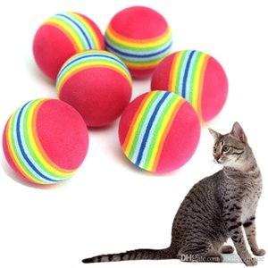 Wholesale 6pcs cm Cat Rainbow Play Ball Pet Dog Puppy Supper Q Coloured Soft Foam Rainbow Chew Chase Bolls Pet Toys