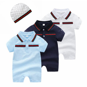 Wholesale 3 M Summer Fashion Striped Cartoon Baby Rompers Short Sleeve Baby Boy Girl Romper Infant Baby Jumpsuit Kids Clothes