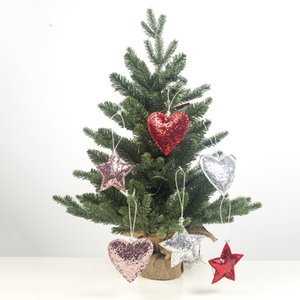 Wholesale 3Pcs Set Ribbon Glitter Christmas Tree Heart Star Shaped Hanging Xmas Party Hanging Ornament for Home Christmas Decorations Gift