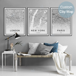 harita new york toptan satış-Siyah Beyaz Dünya İl Haritası Paris Londra New York Posterler İskandinav Salon Wall Art Pictures Ev Dekorasyonu Tuval Tablolar
