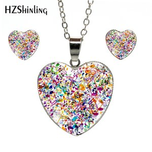 2019 New Fashion Colorful Cool Music Notes Heart Necklace Earrings Lovely Music Notes Jewelry Heart Silver Chains Jewelry Set