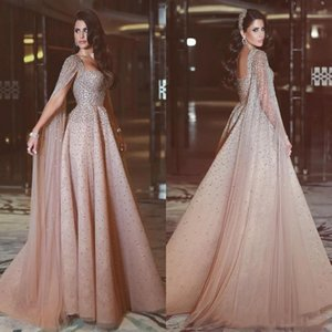 Said Mhamad Evening Dresses With Wrap Major Beading Sequins African Prom Dresses Long Back Zipper Tulle Formal Women Wear Party Gowns on Sale