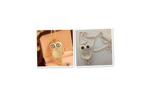 Wholesale New Women Ladies Pendant Sweater Necklaces Fashion Jewelry Girls Cute Owl Style Rhinestones Opal Necklace