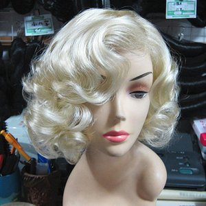 Wholesale Light Blonde Wavy Curly Short Hair Wigs Cosplay Marilyn Monroe Party Anime Wigs Perruque Cheveux Humain Synthetic Wig For Women